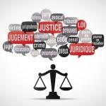nuage de mots bulles silhouette : justice